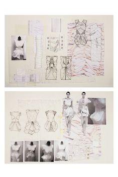 Fashion Sketchbook - fashion design development with sketches + fabric manipulation // Natasha Elliott Sketchbook Layout, Textiles Sketchbook, Sketchbook Inspiration, Sketchbook Ideas, Fashion Sketchbook, Fashion Sketches, Fashion Illustrations, Fashion Design Portfolio, Art Portfolio