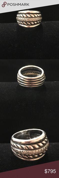 David Yurman Thoroughbred SS Diamond Cable Ring David Yurman Thoroughbred Sterling Silver and Diamond  Cable Ring Gently Worn.            Size 7 David Yurman Jewelry Rings