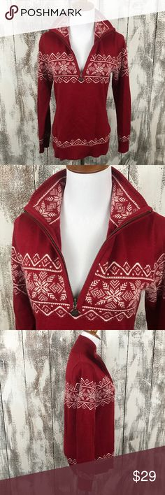 """Eddie Bauer Fair Isle Red Sweater Across the underarms measures approx 18.5"""" and the length is approx 23.5"""". No stains or pulls. Eddie Bauer Sweaters V-Necks"""