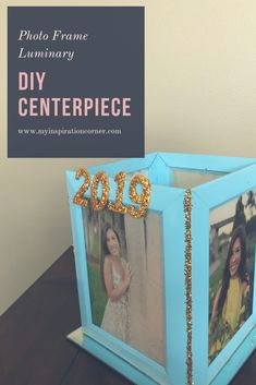 This photo frame luminary is a great DIY centerpiece idea.  It is great graduation party idea, baby shower idea  (use pictures of pregnant mama and sonograms), or wedding idea.