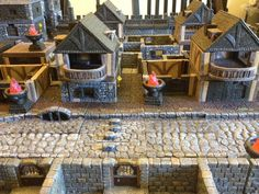 Our first town in a new Savage Worlds RPG with the help of DwarvenForge tiles. Rpg Board Games, Savage Worlds, The Help, Tiles, Cabin, House Styles, Home Decor, Room Tiles, Decoration Home