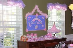 Princess Birthday banner/sign and window treatments