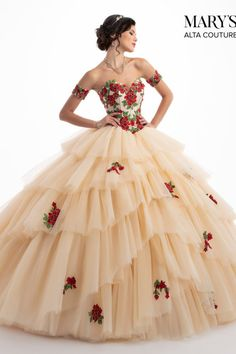 Make a grand entrance in this floral appliqued strapless ball gown with A line skirt by Mary's Bridal Alta Couture Collection during your Quinceanera, Sweet or at any formal event. Diaphanous tulle gown with a strapless sweetheart neckline, deta Quince Dresses Mexican, Mexican Quinceanera Dresses, Quinceanera Party, Mariachi Quinceanera Dress, Sweet 15 Dresses, Pretty Dresses, Beautiful Dresses, Sparkly Dresses, Prom Dresses