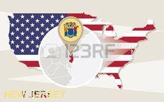 Mapa De Nueva Jersey Estado De Estados Unidos Y La Bandera En - Mapa de new jersey