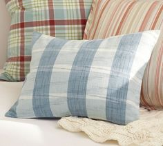Love these perfectly on trend plaid pillows.
