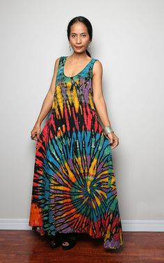 Tie Dye Maxi Dress / Long Sexy Rainbow Cotton Maxi Gown by Nuichan, $58.00