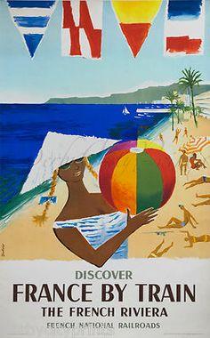 Vintage Travel France by Train - French Riviera #essenzadiriviera - www.varaldocosmetica.it/en