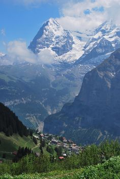 Hiking above Lauterbrunnen in the Swiss Alps.