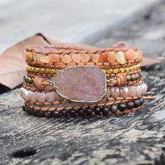 Beaded Wrap Bracelets, Handmade Bracelets, Stone Beads, Stones And Crystals, Jasper Stone, Gold Gilding, Quartz Stone, Natural Leather, Peach Delight
