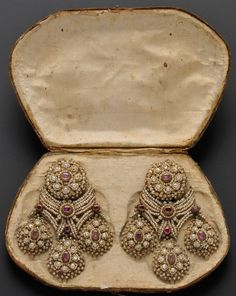 Earrings; Antique, Italian, Girandole Pendants, Ruby & Seed Pearls on Gold Mounts, Box, 4 inch. Circa 1735 -1765.