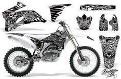 Skulls and Hammers-AMRRACING MX Graphics decal kit fits Yamaha YZ250F YZ450F (2006-2009)-White  Decal Graphics kit from Amrracing graphics who were Founded in 2006, AMR Racing continues to set THE standard for after-market graphics in the off road vehicle industry! We carry a complete line of Graphic Kits for MX Bikes, Quads, Side x Sides, Sport Bikes, Snowmobiles, Jet Skis, Golf Carts & Shifter Karts and our line continues to expand.—With AMR Racing graphics you WILL get noticed!! A..