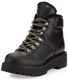 Prada Shearling-Trim Leather Hiking Boot, Black (Nero)