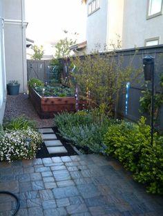 sideyard - raised planter garden for vegetables