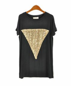 Black Loose Fit Short Sleeve T-shirt with Golden Sequin Embellishment