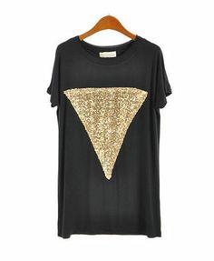 Black Loose Fit Short Sleeve T-shirt with Golden Sequin Embellishment