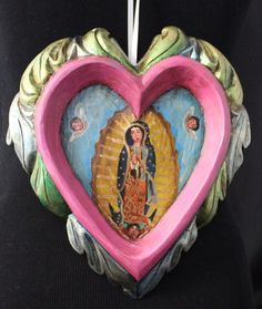 Hand Carved & Painted Pink Heart & Our Lady Guadalupe Patzcuaro Mexican Folk Art