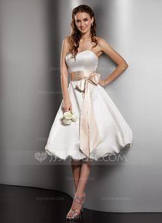 A-Line/Princess Sweetheart Knee-Length Satin Wedding Dress With Sash Bow(s) (002001379) - JJsHouse