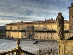Hostal dos Reis Catolicos, now a parador.  Was built by the Catholic Monarchs as an inn and hospital for sick pilgrims.  Santiago de Compostela