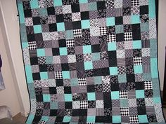 Quilt Black White and Turquoise 9 patch  Special by NancysGarden, $199.00 - This would match my pillows!