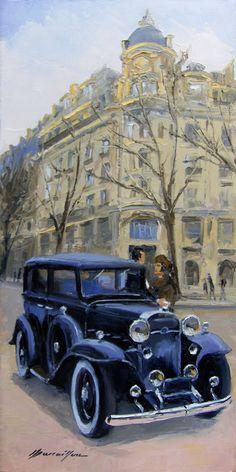 Henry Marcaillou : Boulevard Henri IV, Cadillac 1932