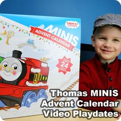 Thomas MINIS Advent Calendar Video Playdates from Play Trains! -- after each door on the calendar is opened, kids can play along with their favorite toy trains!