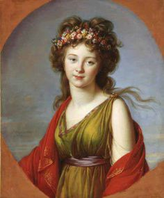 Countess Kaganeck as Flora, Vienna, 1792. She married Count Eugene Wrbna but they lived in the Metternich residence where the Countess assumed the role of hostess to foreign dignitaries during the Congress of Vienna. She was very beautiful and very popular in Vienna./ Se casó con el conde Eugene Wrbna y vivieron en la residencia Metternich, en donde ella hacía de anfitriona de los dignatarios extrangeros durante el Congreso de Vienna. Era muy bella y popular en Vienna.