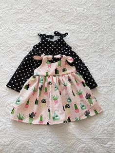 d42488368aa5 Boho baby dress, cactus baby outfit, girls, succulent dress, black polka  dot, pink and black girls dresses