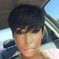 $11.04 Spiffy Short Boy Cut Black Capless Synthetic Women's Wig