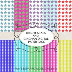 Bright Stars and Gingham Digital Paper Pack