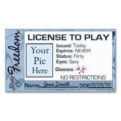"""License To Play, Divorce Party Favor Double-Sided Standard Business Cards (Pack Of 100) (<em data-recalc-dims=""""1"""">$22.95</em>)"""