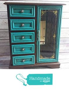 1 Brown and Teal Jewelry Box Up Cycled Eco Friendly from Crafty McDaniel http://www.amazon.com/dp/B015HS7SYU/ref=hnd_sw_r_pi_dp_Astgwb1KQ5HF7 #handmadeatamazon