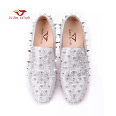 Check current price Men loafers gold and Silver Diamond rivets surface  design party man flats Spiked 66ef849a4e0e