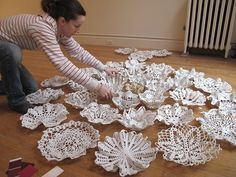 I would like to share with you guys this doily art... one of our regular customers is lady that take our doilies and dipping them in liquid porcelain and then bake them to make beautiful bowls. So my moms doilies were once part of exhibition in New York city gallery. That made us happy.
