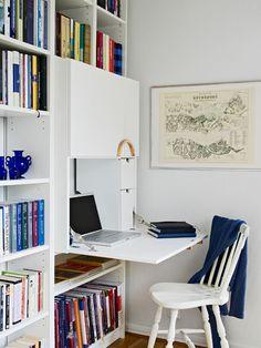 Flip-down desk for master bedroom builtins