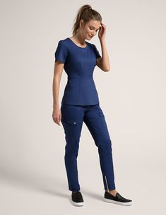 Peplum Top in Royal Blue is a contemporary addition to women's medical scrub outfits. Shop Jaanuu for scrubs, lab coats and other medical apparel. Scrubs Outfit, Scrubs Uniform, Casual Outfits, Fashion Outfits, Cute Outfits, Beauty Uniforms, Stylish Scrubs, Cute Scrubs, Medical Uniforms
