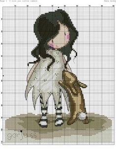 Little girl and bunny. Cross Stitch Boards, Just Cross Stitch, Beaded Cross Stitch, Cross Stitch Baby, Cross Stitch Embroidery, Embroidery Patterns, Cross Stitch Designs, Cross Stitch Patterns, Stitch Doll