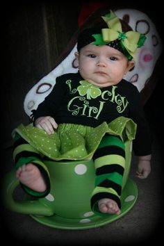 Lucky Girl St Patricks Day Applique Shirt with Matching twirl skirt St Patricks Day Outfit. $28.00, via Etsy.