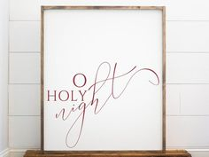 O Holy Night Large Framed Sign, Large Christmas Signs, Farmhouse Decor, Wood Signs Christmas, O Holy