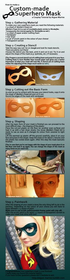 Tutorial: Custom-made Superhero Mask by *Aigue-Marine on deviantART