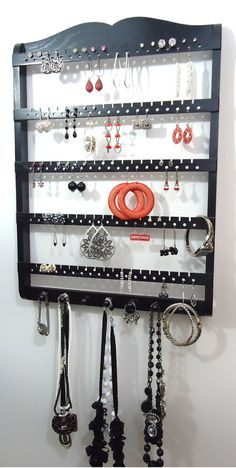 Porte bijoux ébène noir chêne bois par JewelryHoldersForYou sur Etsy
