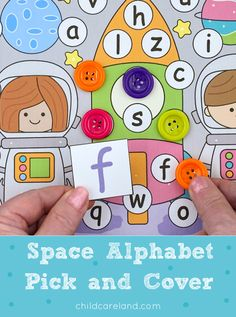 Space alphabet pick and cover for letter recognition and review as well as fine motor development. Early Learning Activities, Motor Activities, Classroom Activities, Letter Recognition, Space Theme, Fine Motor, Alphabet, Kindergarten, Preschool