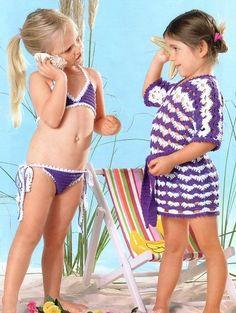 Receita de Crochê Infantil: BIQUÍNI E ROUPÃO INFANTIL EM CROCHÊ