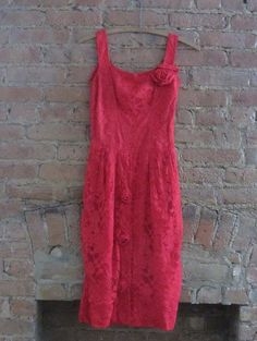Vintage 1950s Red Lace Dress   50s Bombshell by GildedGypsies, $108.00