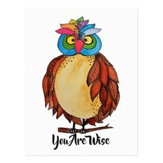 #Watercolor Magical Owl With Rainbow Feathers Postcard - #cute #gifts #cool #giftideas #custom