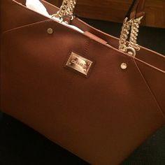 Calvin Klein leather purse Calvin Klein leather and chain purse, color lug luggage Calvin Klein Bags Shoulder Bags