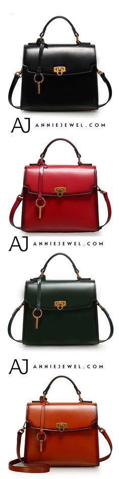 GENUINE LEATHER HANDBAG SATCHEL BAG LOCK BAG SHOULDER BAG CROSSBODY BAG CLUTCH PURSE FOR WOMEN #leatherhandbags