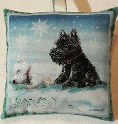 Westie Christmas Gift / Westie Fabric Lavender Bag / Scottie Dog Gift