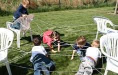 Kid-Sized Spider Web... have them weave a web by standing in a circle and tossing a ball of string all around(that's half the fun) and then secure edges to chairs. Toss and spider toy into the middle and see if they can retrieve the toy without touching the web. Reward with a spider-themed treat.