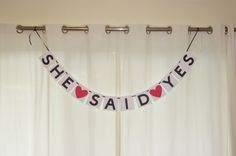 She Said Yes Banner  White She Said Yes Banner by AllOverCreations, $14.00