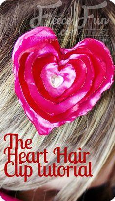 Heart No Sew Satin Hair Clip ♥ Fleece Fun